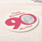 Happy birthday 90 name and photo paper coasters