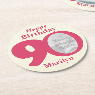 Happy birthday 90 name and photo paper coasters round paper coaster