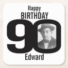 Happy birthday 90th name and photo paper coasters
