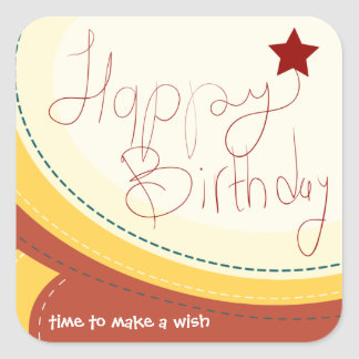 Happy Birthday abstract soft brown gift seal