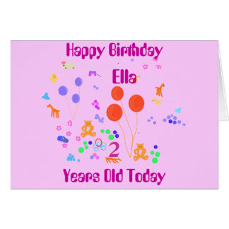 Happy Birthday Add name 2 years old Greeting Card