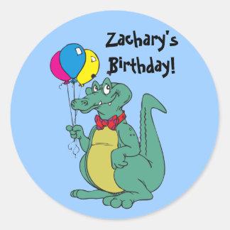 Happy Birthday Alligator Balloon Sticker