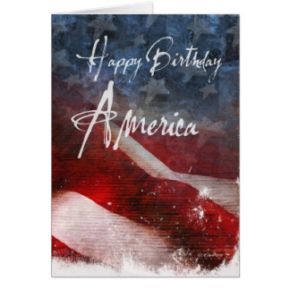 Happy Birthday America-Aged flag Card
