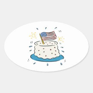 Happy Birthday America Oval Sticker