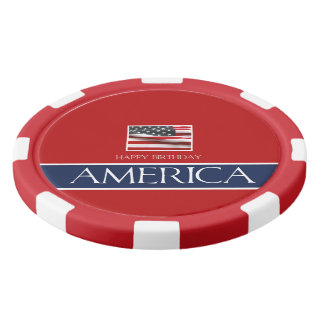 Happy Birthday America! Poker Chips Set