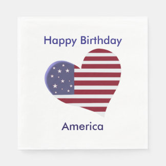 Happy Birthday America, Red White and Blue Heart Paper Napkin