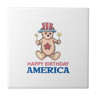 Happy Birthday America Ceramic Tile