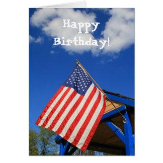 Happy Birthday American Flag greeting card
