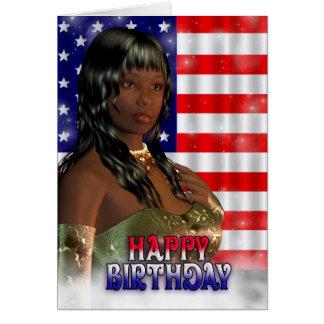 Happy Birthday, American Flag, USA Greeting Card