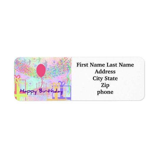 Happy Birthday and Best Wishes One Ballon Return Address Label