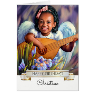 Happy Birthday. Angel with Lute Greeting Cards