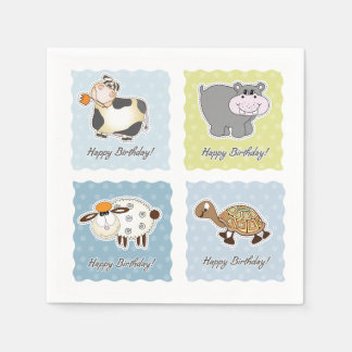 Happy Birthday Animals Paper Napkins