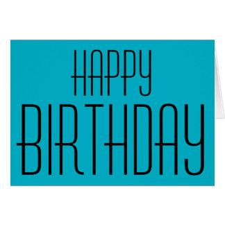 Happy Birthday, aqua blue, Note Card