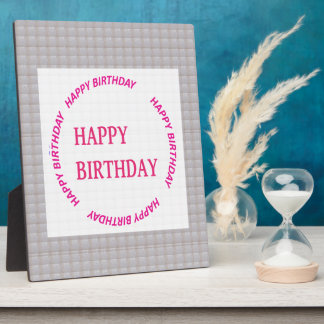 Happy Birthday art on Crystal Stone Tile Plaque