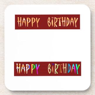 HAPPY BIRTHDAY Artistic Script Text Beverage Coasters