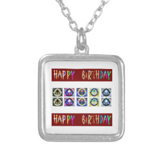 HAPPY BIRTHDAY Artistic Script Text Necklaces