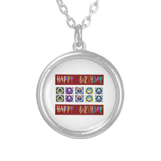 HAPPY BIRTHDAY Artistic Script Text Personalized Necklace