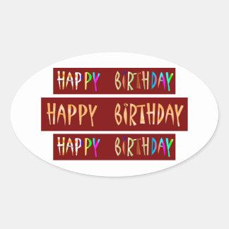 HAPPY BIRTHDAY Artistic Script Text Oval Sticker