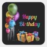 Happy Birthday Aufkleber Quadrat