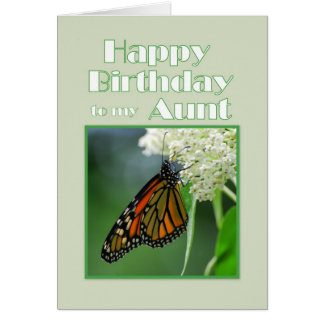 Happy Birthday Aunt Monarch Butterfly Greeting Card