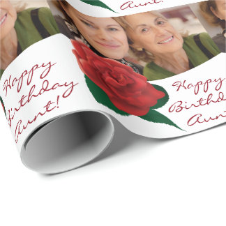 Happy Birthday aunt text photo Wrapping Paper