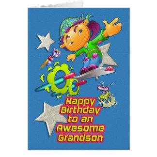 Happy Birthday Awesome Grandson Skateboarder Boy Card
