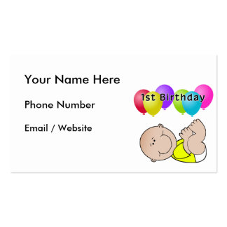 Happy Birthday Baby in Yellow Business Card Templates