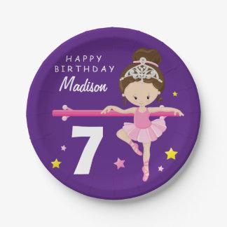 Happy Birthday Ballerina Paper Plate