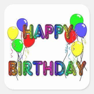 Happy Birthday Ballons D1 Square Sticker