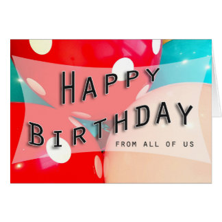 happy birthday balloon blue pink red coworker greeting card