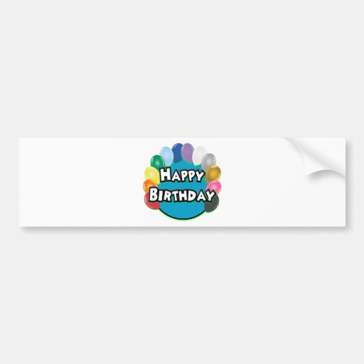 Happy Birthday Balloon Circle Bumper Sticker