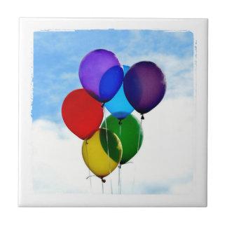 Happy Birthday balloon photo Small Square Tile
