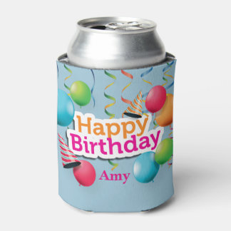 Happy Birthday Balloons and Hats Can Cooler