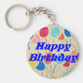 Happy Birthday Balloons And Streamers Keychain