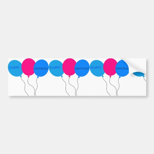 Happy Birthday Balloons Bumper Stickers