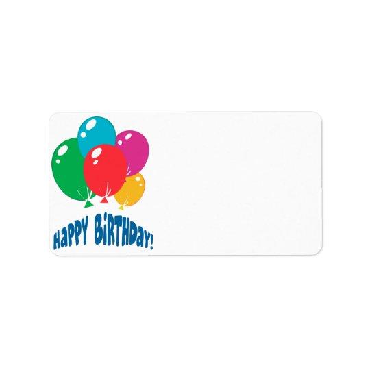 happy birthday balloons design address label