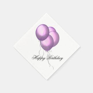 Happy Birthday Balloons Lavender Disposable Napkins
