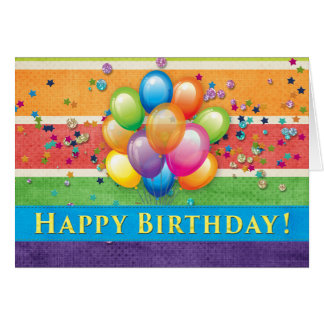 Happy Birthday Balloons Multi Color Card