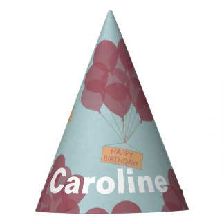 Happy birthday balloons personalized party hat