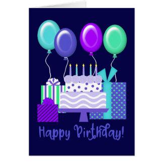 Happy Birthday!   Balloons, Presents & Cake Card