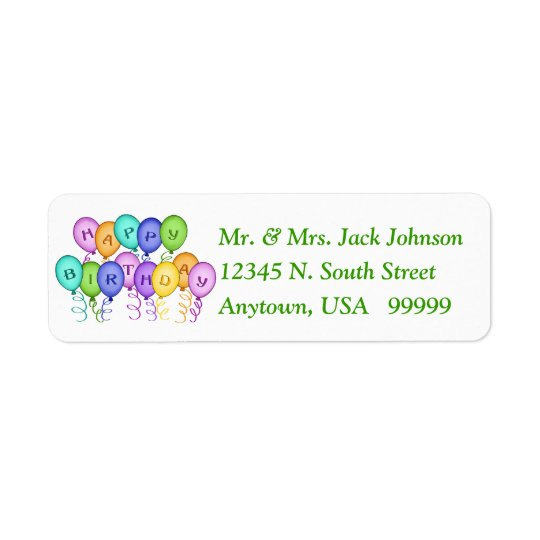 Happy Birthday Balloons Return Address Labels