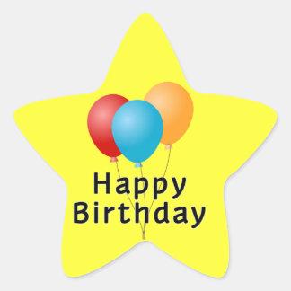 Happy Birthday Balloons Star Sticker