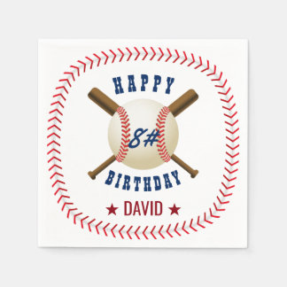 Happy Birthday Baseball Boy Sports Theme Disposable Serviettes