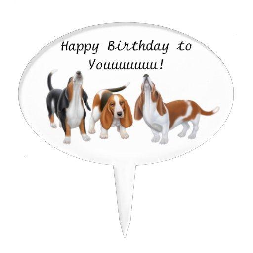 Happy Birthday Basset Hound Dogs Cake Pick Zazzle