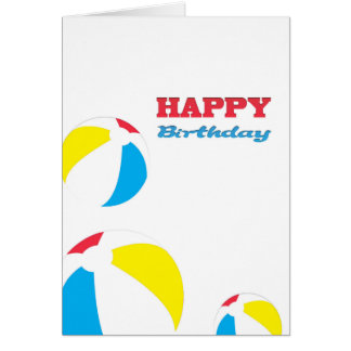Happy Birthday beach balls Greeting Card