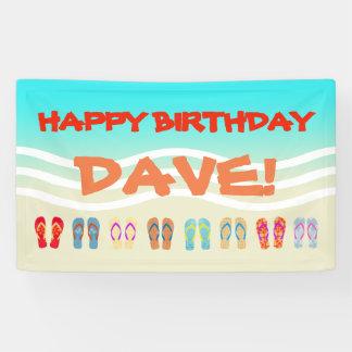 Happy Birthday Beach Party Custom Banner
