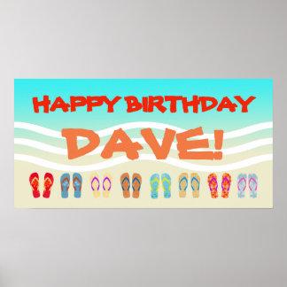 Happy Birthday Beach Party Custom Poster
