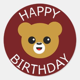 Happy Birthday Bear Round Sticker