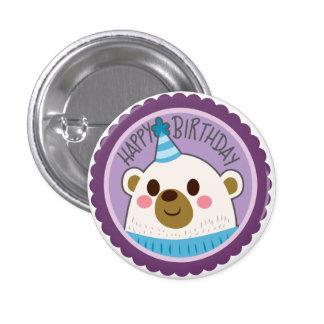 Happy Birthday Bear Sticker 3 Cm Round Badge