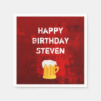 Happy Birthday Beer Mug on Grunge Red Abstract Disposable Serviette